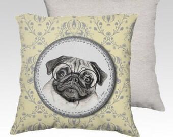 Pug cushion cover, pug with glasses cushion, pug velvet cushion cover , dog pillow cover, dog gift, dog decor, pug lover, pet lover