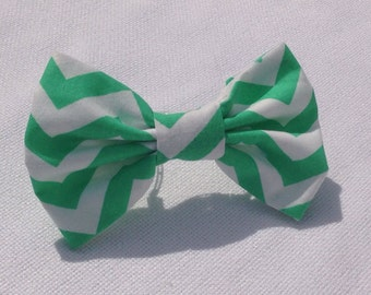 Chevron Mint Green Hair Bow or Mint Green Bow Tie - infant - adult bow - chevron