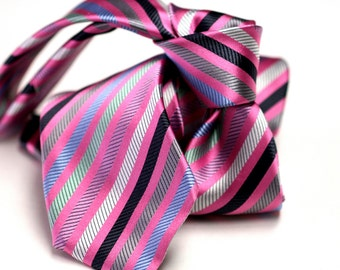 Tie made from Italian Silk in 2.75 inch in Stripes with Pink, Black, Grey, Green, Blue