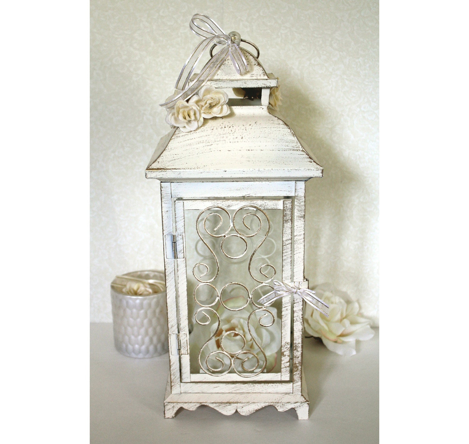 Wedding in lantern centerpiece vintage antique ivory gold