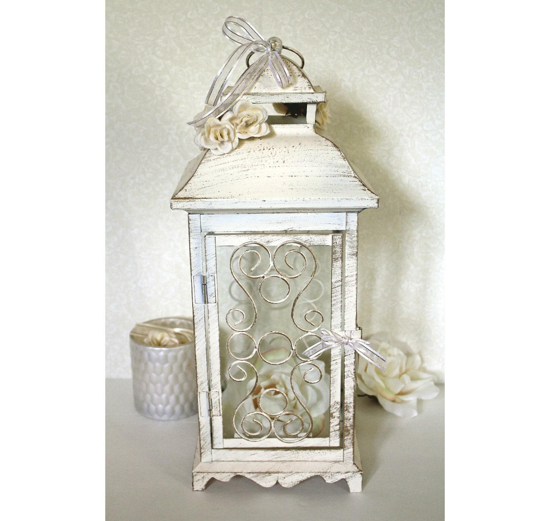 Wedding Lantern Centerpieces: Wedding 16in Lantern Centerpiece Vintage Antique Ivory & Gold