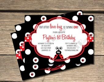Our Little Love Bug Lady Bug Birthday Invitation - 5x7