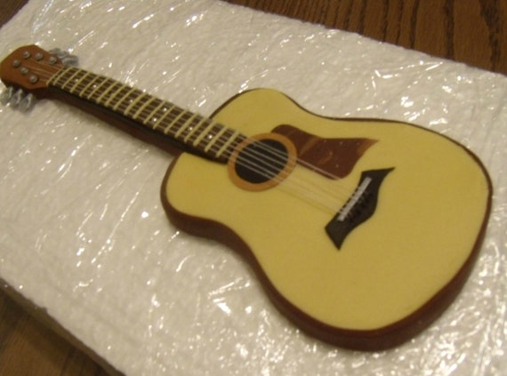 Guitar Cake Images With Name : Acoustic Fondant guitar cake topper custom color of by ...