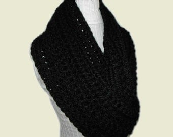 BLACK INFINITY Scarf Cowl Extra Long Eternity Circle Loop Infiniti Scarf Chunky Knit Scarves Crochet Wool Best Gift Idea