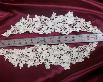 Beautiful Venise Lace Applique Pair in Ivory, Pink, Burgundy, Hunter Green, Lavender