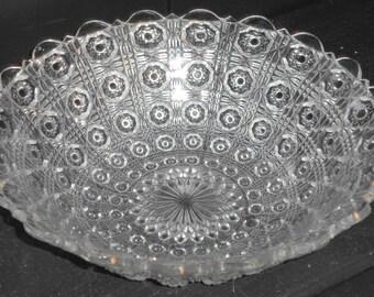 Vintage Pressed Glass Hobstar Pattern Serving Bowl 9x2.5in
