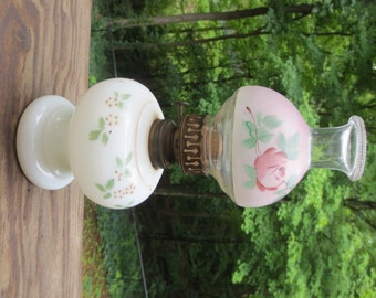 NEW PRICE Vintage Milk Glass oil lamp with hand-painted base and globe