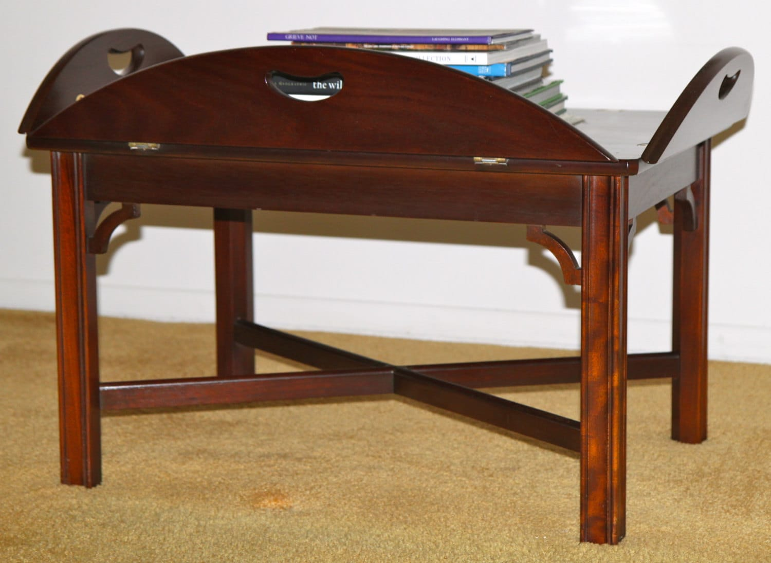Butlers Tray Table Solid Mahogany Coffee Chippendale