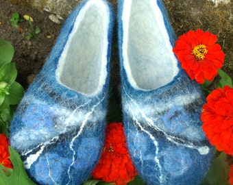 PRE ORDER Handmade Woollen Felt Slippers  from sheep wool with leather soles blue