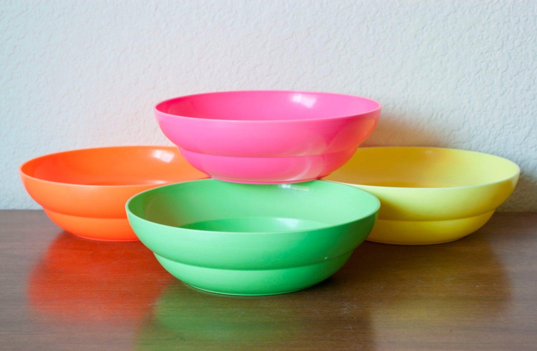 neon tupperware cereal bowls green orange pink yellow set of