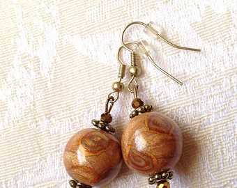 Handmade Polymer Clay spiral gold yellow silver bead earrings