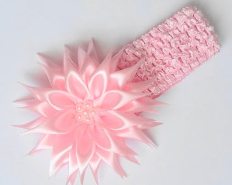 Headband  in the technique  of kanzashi from satin ribbon for baby