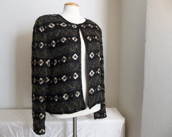 Beaded Silk Gold & Black Top - Vintage 1960s - Large/Xtra-Large - Glam - Christmas - Party