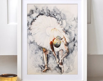Watercolor Print - Back stage. Art print of ballerina.