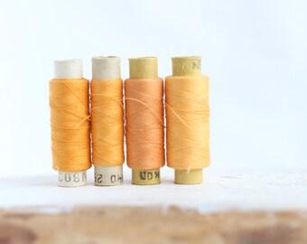 Soviet Vintage Thread Spools - set of 4 - Yellow-Orange