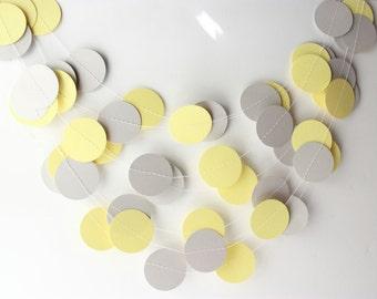 Wedding Garland Yellow & Gray Paper Garland 10 ft - Bridal Shower, Baby Shower, Birthday, Yellow Gray Wedding, Home Decor, Nursery