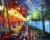 Walk in the park, stroll by the lake, couple walking, night rain umbrella modern impressionism bright night street lamps lights