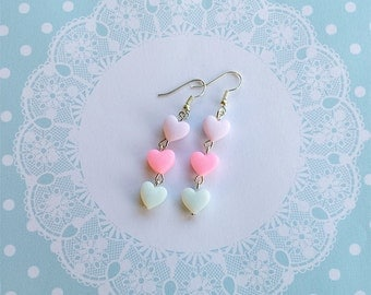Kawaii pastel heart earrings