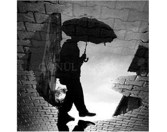 Black and white photography,  Reflection, Rain photography, rain man, Art photography, Wall decor, home decor, 12x12 inch