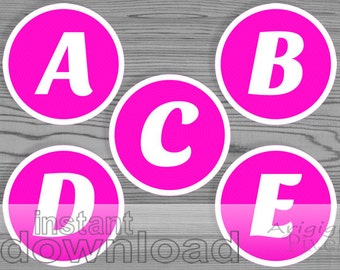 hot pink alphabet circle, white letters, printable 3 inch circle letters for personalized party banner download