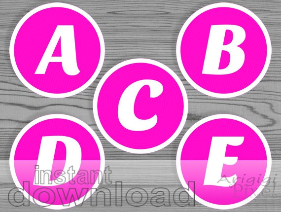 hot pink alphabet circle white letters printable 3 inch