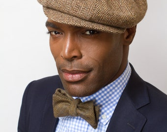 The Sutton Herringbone Newsboy Cap in Dark Chocolate by Prohibition Clothing
