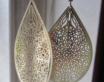 """SALE: Gold Dangle Large Tear Drop Earrings 2 1/4"""" L Dangle Lace Filigree Earrings - Hypo Allergenic - Earrings - Jewelry - Gift For Her"""