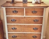 Reserved-Rustic Antique Cream and Wood dresser- shabby chic, chalk painted, painted furniture, distressed, cottage style