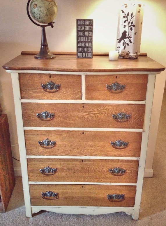 Reserved Rustic Antique Cream And Wood Dresser Shabby Chic