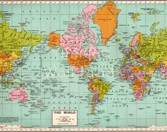 World map print | Etsy