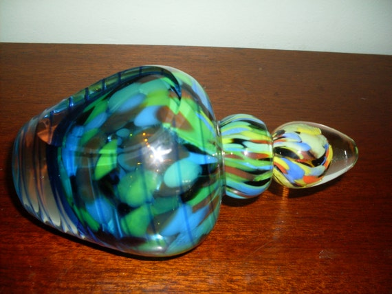 multi colored glass perfume bottle art glass by