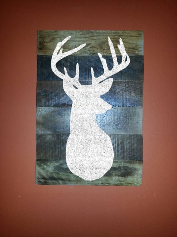Deer Head Mount On Reclaimed Wood Wall Art