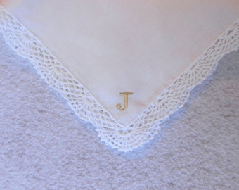 Monogrammed Handkerchief, Ladies Handkerchief With Monogram