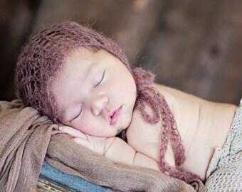 newborn photo prop, knit lace bonnet, knit mohair bonnet, photography prop, newborn bonnet, sitter bonnet, baby bonnet nb, 0-6 , 6-12 months