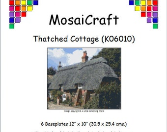 MosaiCraft Pixel Craft Mosaic Art Kit 'Thatched Cottage' (Like Mini Mosaic and Paint by Numbers)