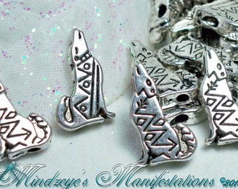 Antiqued Silver Finish Howling Coyote Beads/Charms 17x10mm