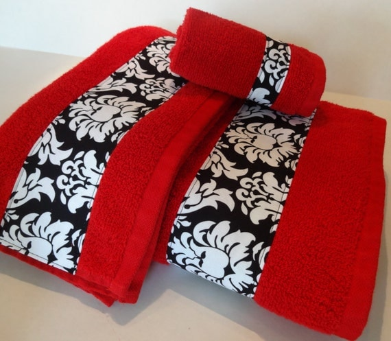 Bath Towel Sets Black And White: Red And Black Damask Bath Towels Bathroom Towels Bath Towel
