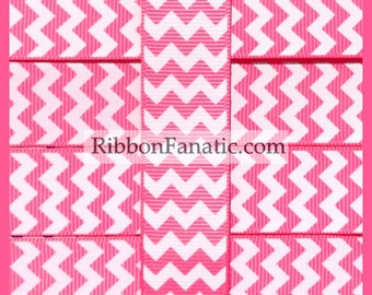 """5 yds 7/8""""  Hot Pink and White Chevron Striped Grosgrain Ribbon"""