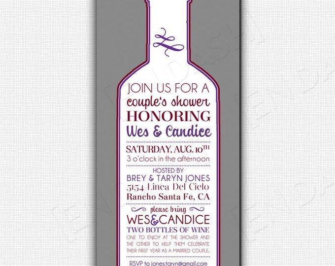 Wine Shower Invite - Digital File or Printed Options