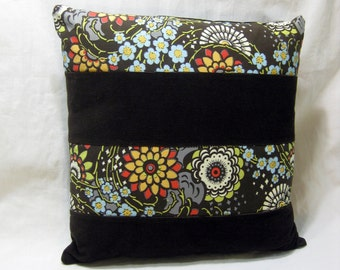 Brown Corduroy Patchwork Pillow Cover, Amy Butler Fabric