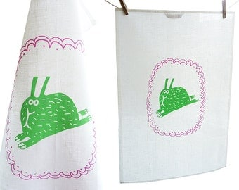 Rabbit / hare, tea towel, dish cloth, 100% linen. Screen printed by hand.