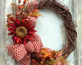 Fall Wreath Red Sunflower - Autumn, Harvest, Chevron, Burlap