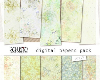 Scrapbook Papers, Digital Paper Pack vol 7, floral subtele pattern, 12x12, jpg file