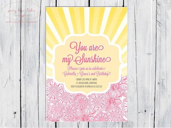 You are my sunshine invitation invite 1st Birthday Girls