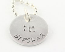 SALE - Bipolar Necklace - Happy Sad Necklace - Hand Stamped Necklace