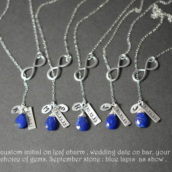 Bridesmaid gifts,Infinity necklace.personalized.custom birthstone.initial.blue sapphire.Wedding date Lariat necklace.Infinity jewelry