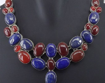 Carnelian, Lapis Lazuli 97 Grams 18 Inches Silver Plated Necklace Jewelry