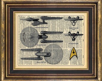 Star Trek Enterprise diagram book page art print Dictionary art print up cycled