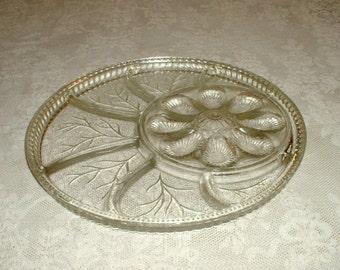 Vintage Glass Relish and Deviled Egg Serving Platter