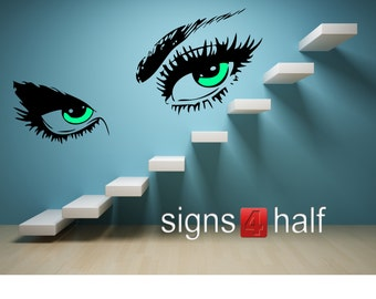 Beautiful Eyes Silhouette Removable Wall Art Wall Decor Decal Vinyl Sticker Mural Woman